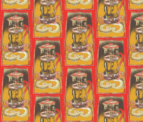 Retro French Press fabric by tresreneestudio on Spoonflower - custom fabric