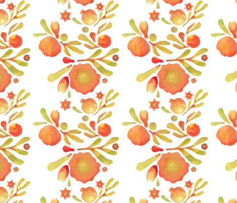 Granada Floral_white fabric by bee&lotus on Spoonflower - custom fabric