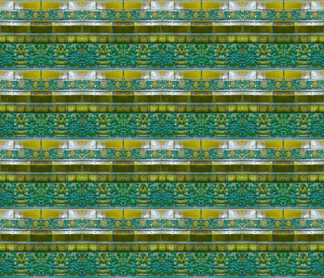 green wall tiles from forbidden palace beiing china with flowers 21 x 18 fabric by waterglider on Spoonflower - custom fabric