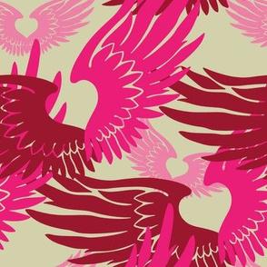 Heartwings II: Pink, Beige
