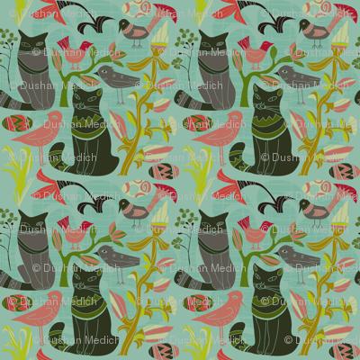 Retro Cats Birds And Flowers