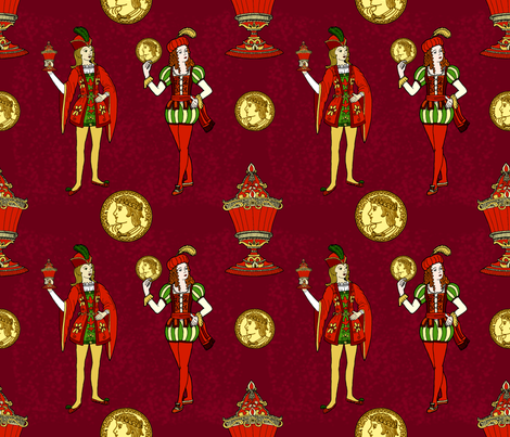 Jacks, golds and cups. fabric by dinorahaleatelier on Spoonflower - custom fabric