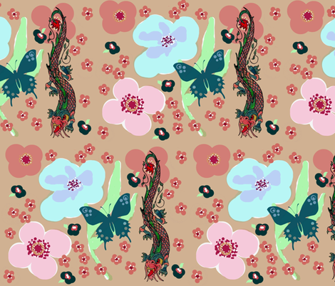 floral dragon1 fabric by paragonstudios on Spoonflower - custom fabric