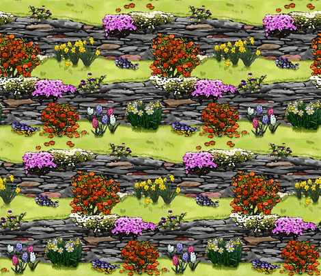 Spring_Time_Wall_Garden_C_F fabric by khowardquilts on Spoonflower - custom fabric