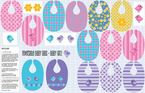 Reversible Bibs - Baby Girl fabric by shelleymade on Spoonflower - custom fabric