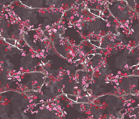 branches on lacy grey background fabric by katarina on Spoonflower - custom fabric