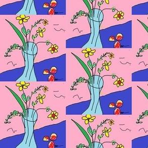 Blue Vase and Peaches