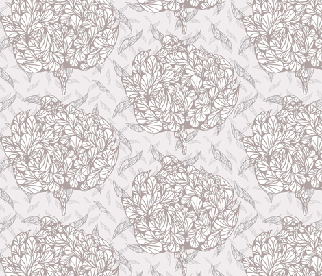pen and ink peony fabric by kimbond on Spoonflower - custom fabric