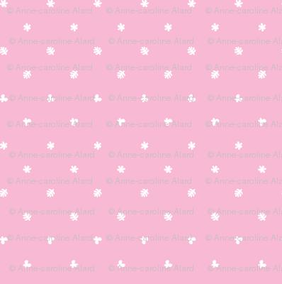 Polka leaves flowers and butterflies Pink
