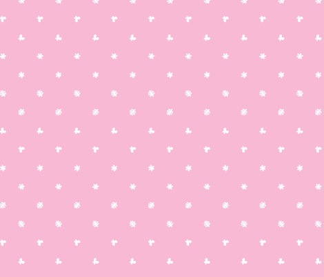 Polka leaves flowers and butterflies Pink fabric by petitspixels on Spoonflower - custom fabric