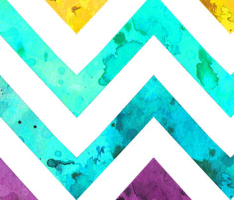 largest watercolor chevron rainbow fabric by katarina on Spoonflower - custom fabric