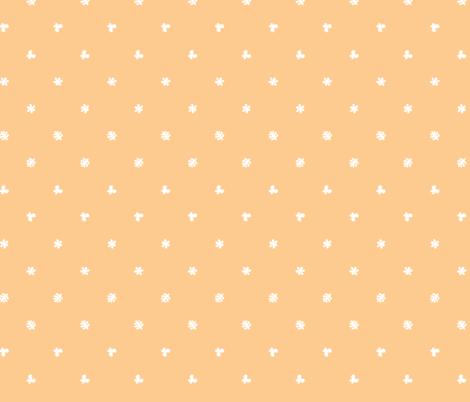 Polka leaves flowers and butterflies Orange fabric by petitspixels on Spoonflower - custom fabric