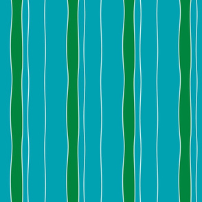 Turquoise & Green Stripe