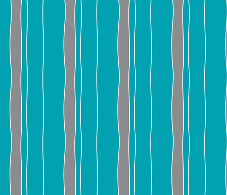 Turquoise & Grey Stripe fabric by fig+fence on Spoonflower - custom fabric