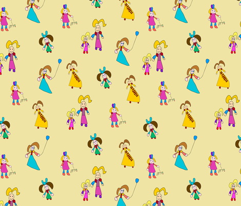 Princess and girls fabric by dinorahdesign on Spoonflower - custom fabric