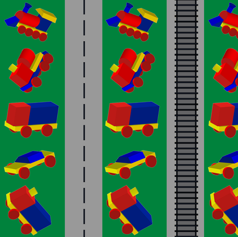 Roadway and Tracks Green fabric by carmenscottagecreations on Spoonflower - custom fabric