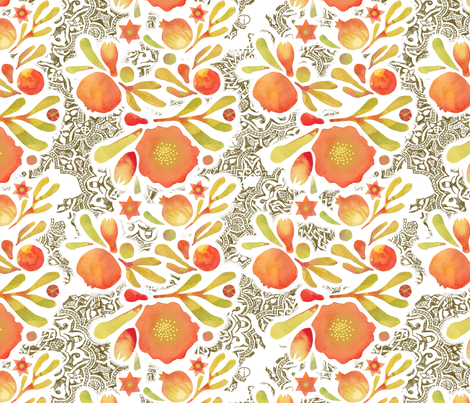 Granada Floral Ink_Henna fabric by bee&lotus on Spoonflower - custom fabric