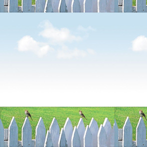 White Picket Fence With Sparrows, L