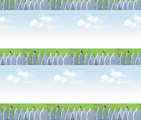 White Picket Fence With Sparrows, S fabric by animotaxis on Spoonflower - custom fabric