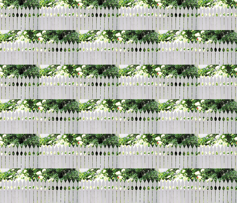 White Picket Fence With A Red Rose, L fabric by animotaxis on Spoonflower - custom fabric
