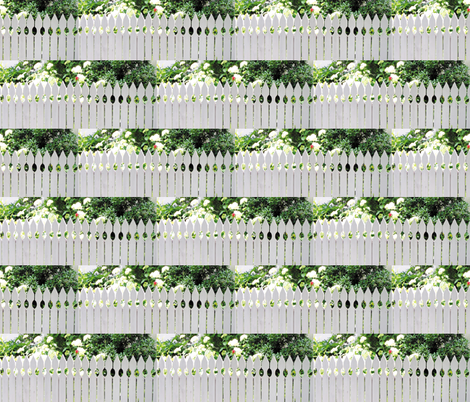 White Picket Fence With A Red Rose, S fabric by animotaxis on Spoonflower - custom fabric