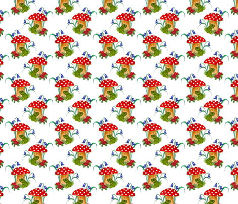 Frog finds shelter fabric by linsart on Spoonflower - custom fabric