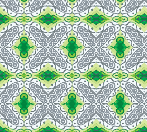 Frilly X with Green fabric by susaninparis on Spoonflower - custom fabric