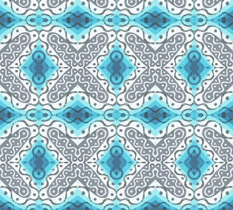 Frilly X with Blue fabric by susaninparis on Spoonflower - custom fabric