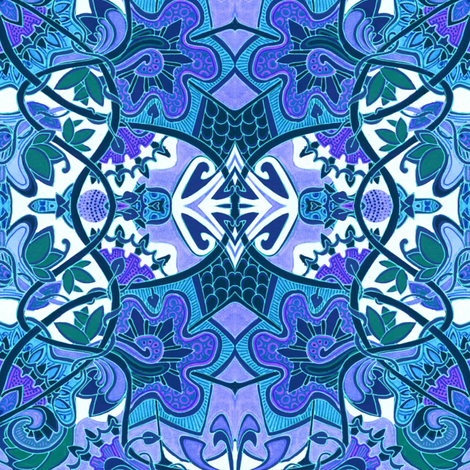 Deftly Delft Amoebaflower Tiles fabric by edsel2084 on Spoonflower - custom fabric
