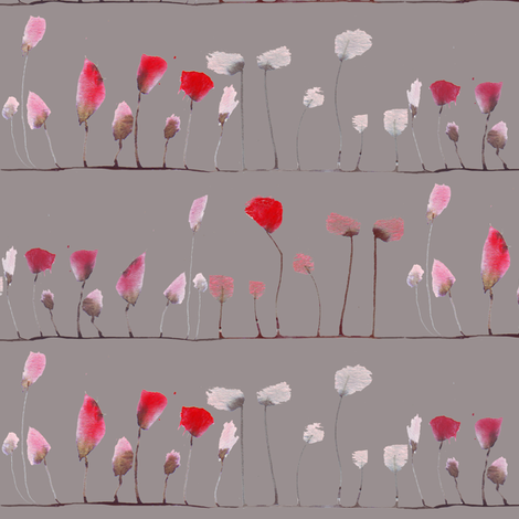 poppies stripe in grey fabric by katarina on Spoonflower - custom fabric