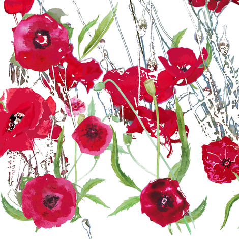 watercolor red poppy field on white fabric by katarina on Spoonflower - custom fabric