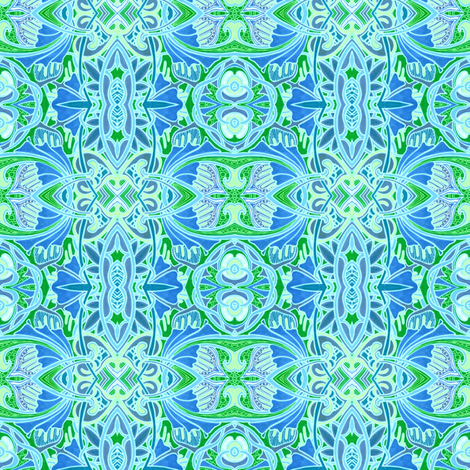 Blue and Green Waltz fabric by edsel2084 on Spoonflower - custom fabric