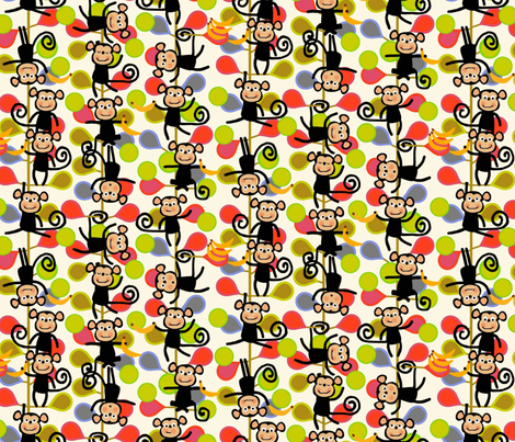 felt monkeys fabric by scrummy on Spoonflower - custom fabric