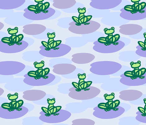 Frogs on Lilypads - Purple fabric by ophedia on Spoonflower - custom fabric