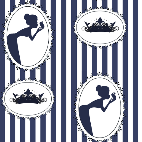 The Frog Prince in Navy (Large Scale) fabric by delsie on Spoonflower - custom fabric
