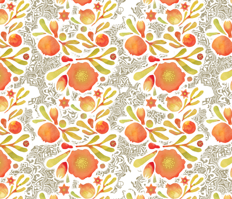 Granada Floral Ink_stone fabric by bee&lotus on Spoonflower - custom fabric