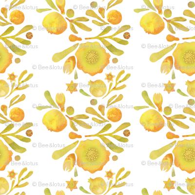 Granada Floral_yellow ochre