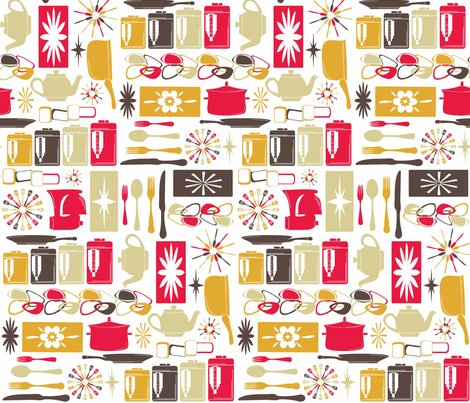 My Retro Kitchen Fabric Designedtoat Spoonflower