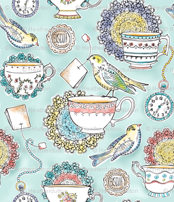 Afternoon Tea - Bird Watercolor Large Scale