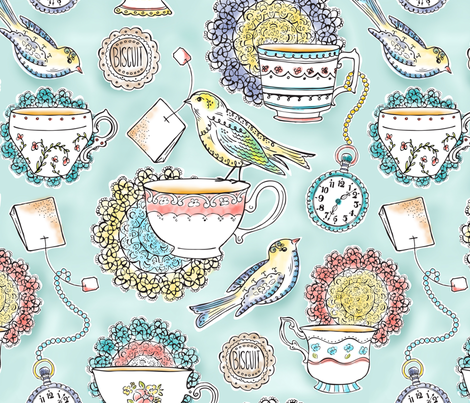 Afternoon Tea - Bird Watercolor Large Scale fabric by heatherdutton on Spoonflower - custom fabric