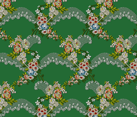 Roses Wave Brocade - Green fabric by bonnie_phantasm on Spoonflower - custom fabric