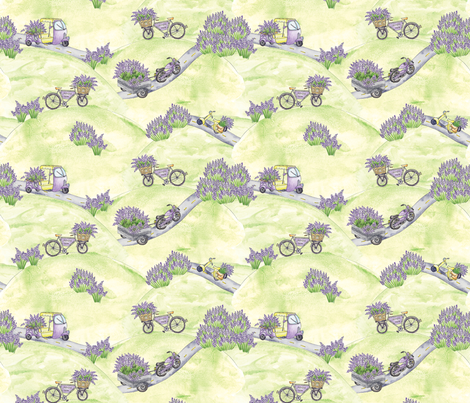 Lavender Farm Road  fabric by sevenoakslavenderfarm on Spoonflower - custom fabric