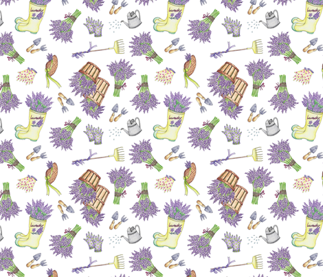 Lavender Garden fabric by sevenoakslavenderfarm on Spoonflower - custom fabric