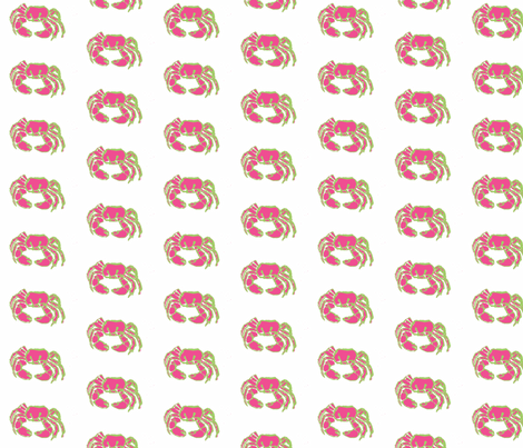 Crabby In Pink-ch fabric by fireflyhill on Spoonflower - custom fabric
