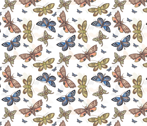 moths fabric by beans+ink on Spoonflower - custom fabric