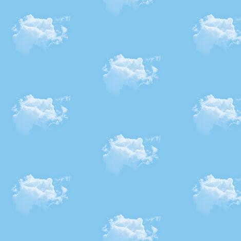 White Fluffy Clouds 2, S fabric by animotaxis on Spoonflower - custom fabric