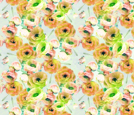 Watercolor Ranunculus fabric by michellesmith on Spoonflower - custom fabric