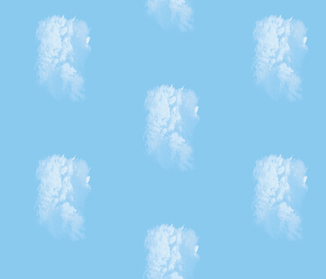 White Fluffy Clouds 5, Border fabric by animotaxis on Spoonflower - custom fabric