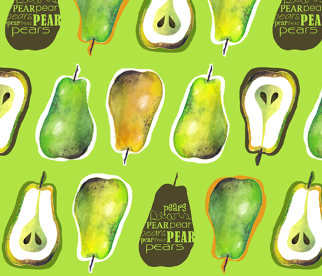 Pears - Fabric8 fabric by run_quiltgirl_run on Spoonflower - custom fabric