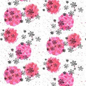 daisy splatter - hot pink